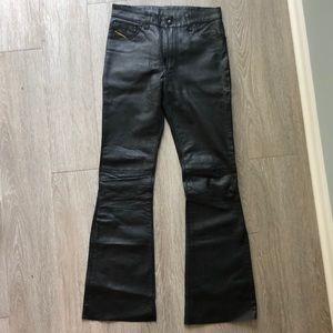 Diesel black leather pants